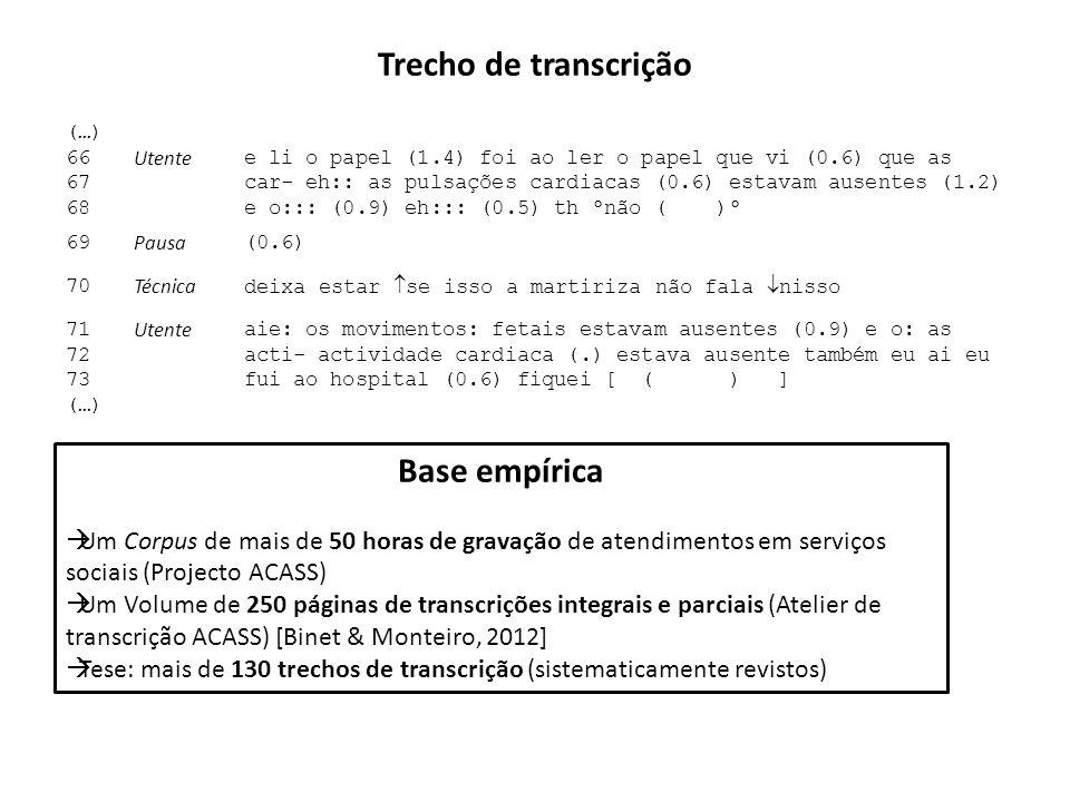 Trecho de transcrição (…) 66 67 68 Utente e li o papel (1.4) foi ao ler o papel que vi (0.6) que as car- eh:: as pulsações cardiacas (0.6) estavam aus