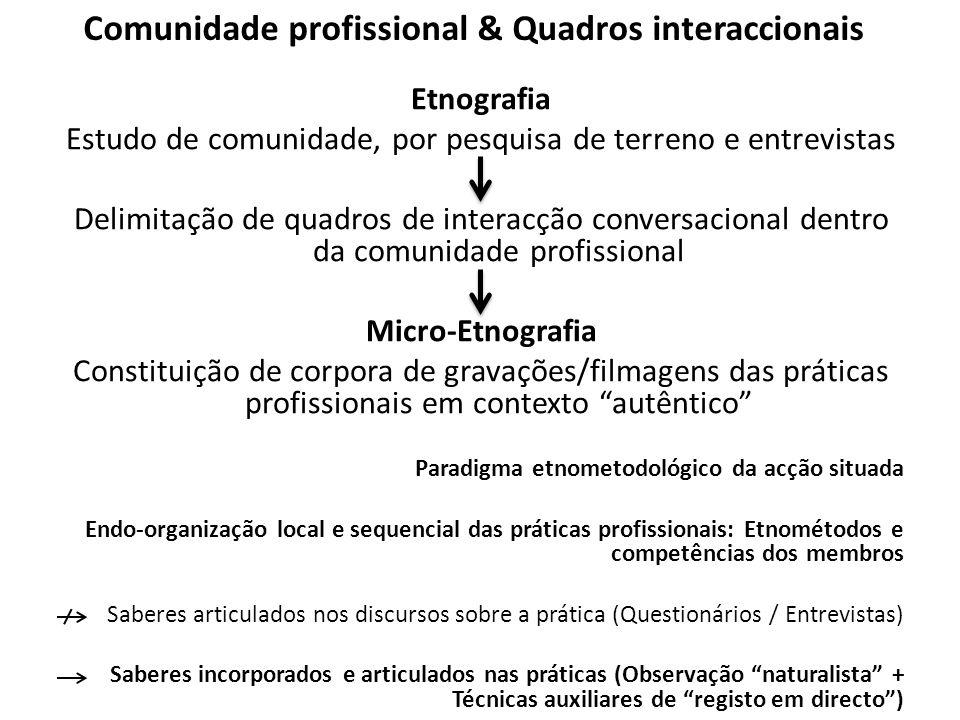 Comunidade profissional & Quadros interaccionais Etnografia Estudo de comunidade, por pesquisa de terreno e entrevistas Delimitação de quadros de inte