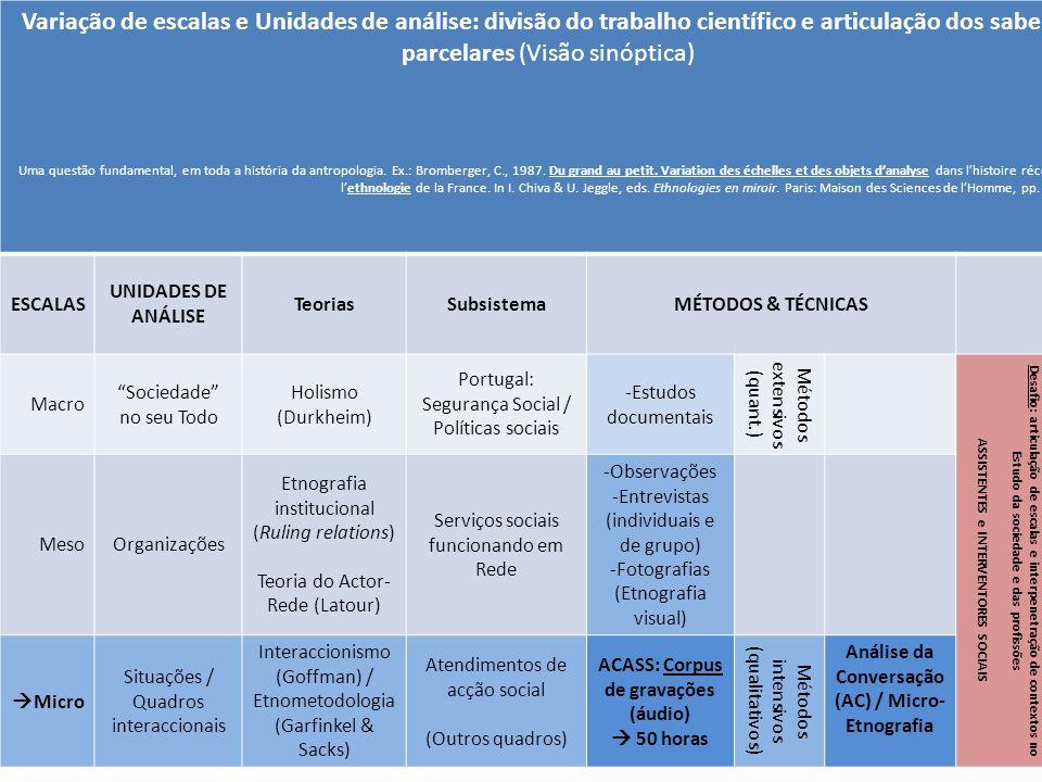 Variação de escalas e Unidades de análise: divisão do trabalho científico e articulação dos saberes parcelares (Visão sinóptica) Uma questão fundament