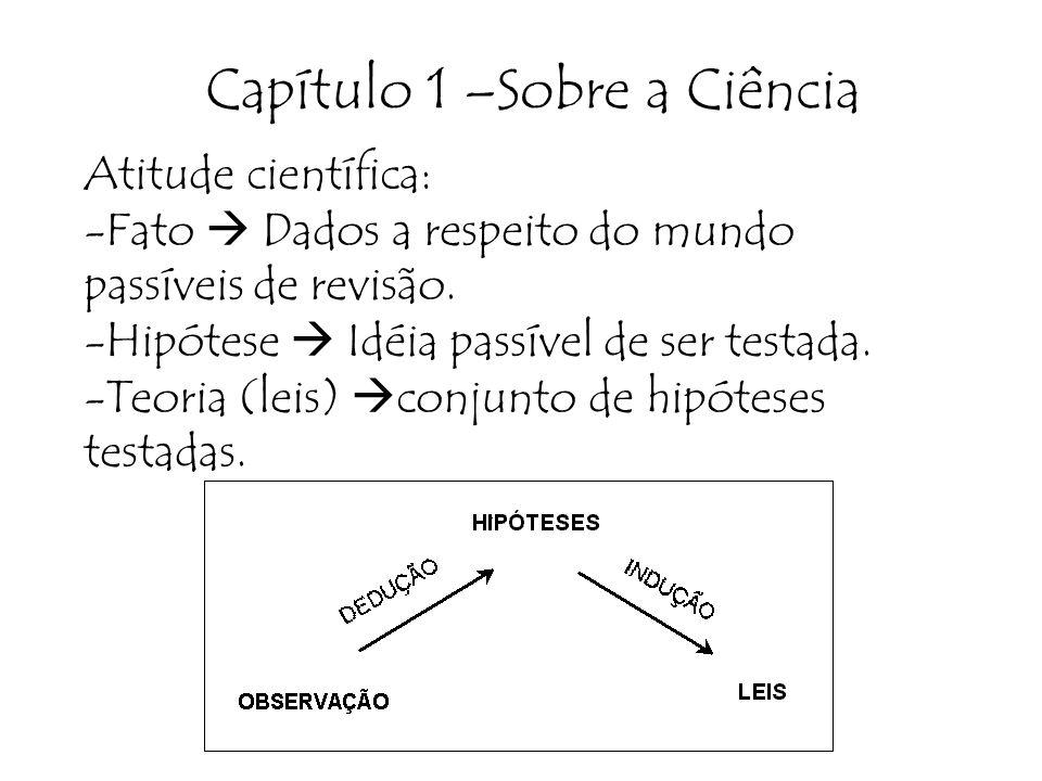 Capítulo 1 –Sobre a Ciência Atitude científica: -Fato Dados a respeito do mundo passíveis de revisão. -Hipótese Idéia passível de ser testada. -Teoria