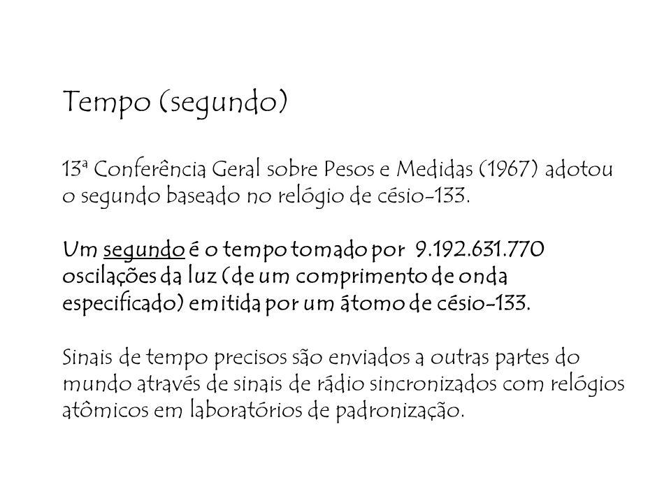 Tempo (segundo) 13ª Conferência Geral sobre Pesos e Medidas (1967) adotou o segundo baseado no relógio de césio-133. Um segundo é o tempo tomado por 9