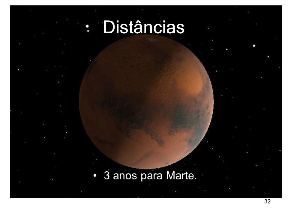 32 Distâncias 3 anos para Marte.