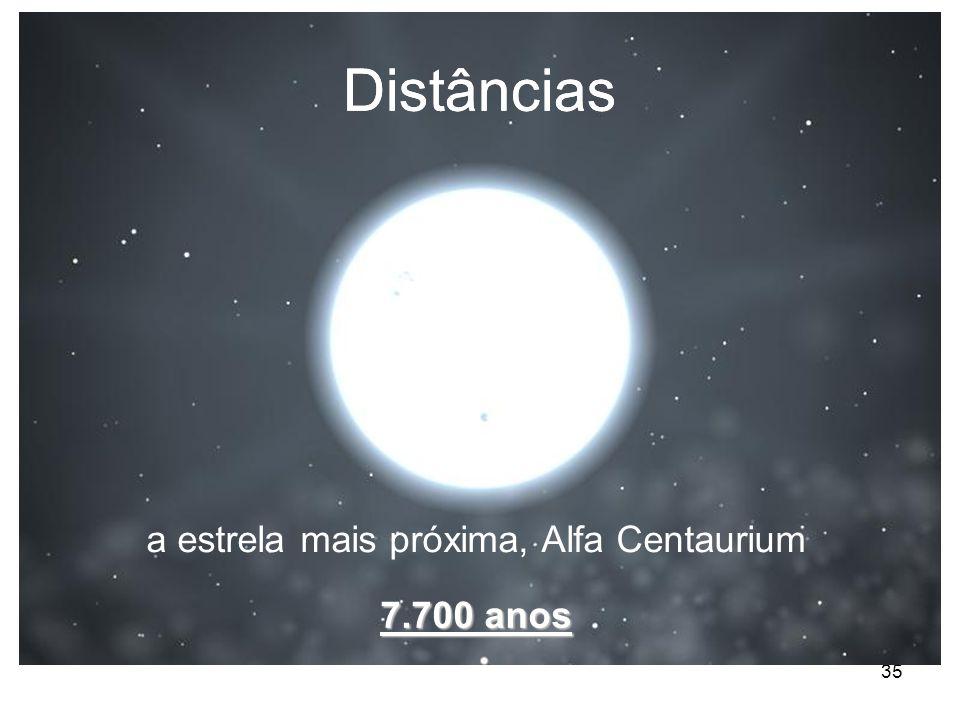 35 Distâncias 7.700 anos a estrela mais próxima, Alfa Centaurium