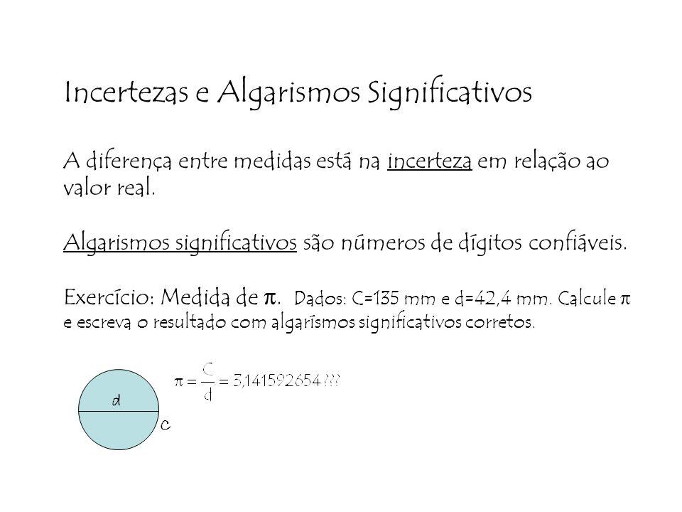 Incertezas e Algarismos Significativos A diferença entre medidas está na incerteza em relação ao valor real. Algarismos significativos são números de