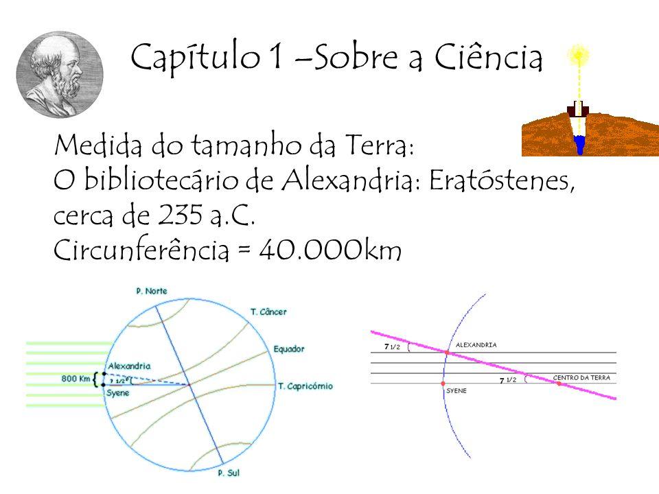 Capítulo 1 –Sobre a Ciência Medida do tamanho da Terra: O bibliotecário de Alexandria: Eratóstenes, cerca de 235 a.C. Circunferência = 40.000km