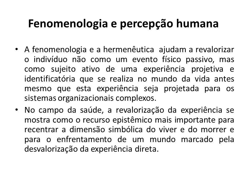 Fenomenologia e percepção humana A fenomenologia e a hermenêutica ajudam a revalorizar o indivíduo não como um evento físico passivo, mas como sujeito ativo de uma experiência projetiva e identificatória que se realiza no mundo da vida antes mesmo que esta experiência seja projetada para os sistemas organizacionais complexos.