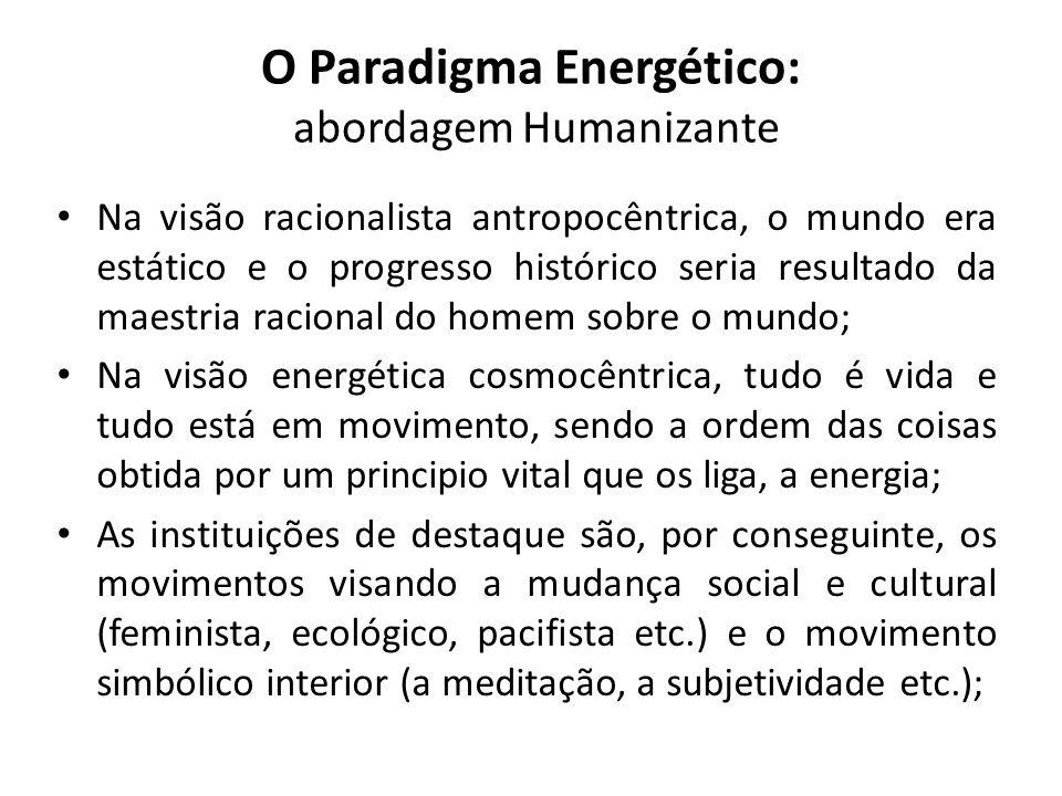 O Paradigma Energético: abordagem Humanizante Na visão racionalista antropocêntrica, o mundo era estático e o progresso histórico seria resultado da m