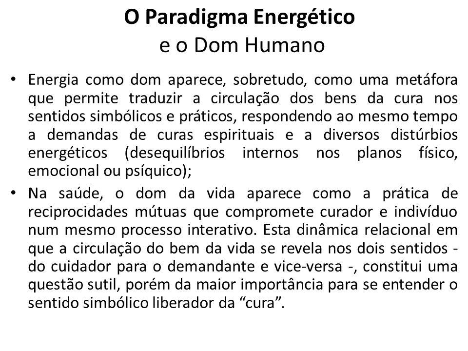 Energia como dom aparece, sobretudo, como uma metáfora que permite traduzir a circulação dos bens da cura nos sentidos simbólicos e práticos, responde