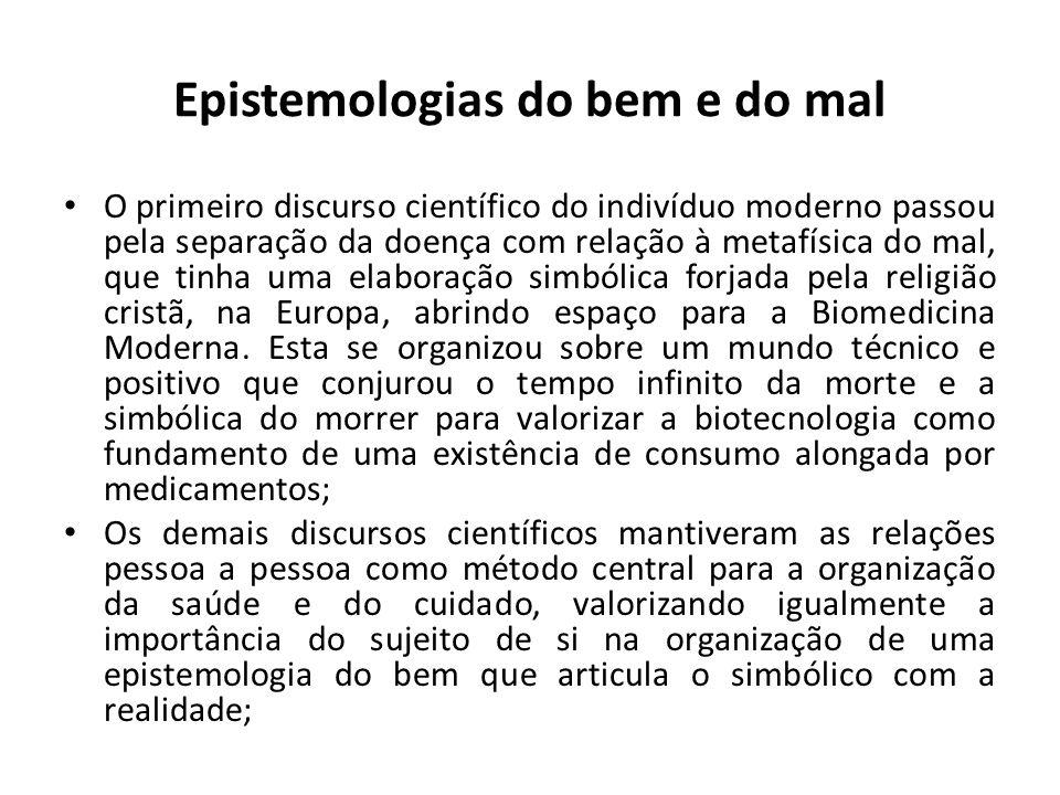 Epistemologias do bem e do mal O primeiro discurso científico do indivíduo moderno passou pela separação da doença com relação à metafísica do mal, qu