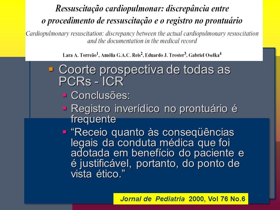 Coss-Bu JA, Nutrition, 1998 Coorte prospectiva de todas as PCRs - ICR Coorte prospectiva de todas as PCRs - ICR Conclusões: Conclusões: Registro inverídico no prontuário é frequente Registro inverídico no prontuário é frequente Receio quanto às conseqüências legais da conduta médica que foi adotada em benefício do paciente e é justificável, portanto, do ponto de vista ético.