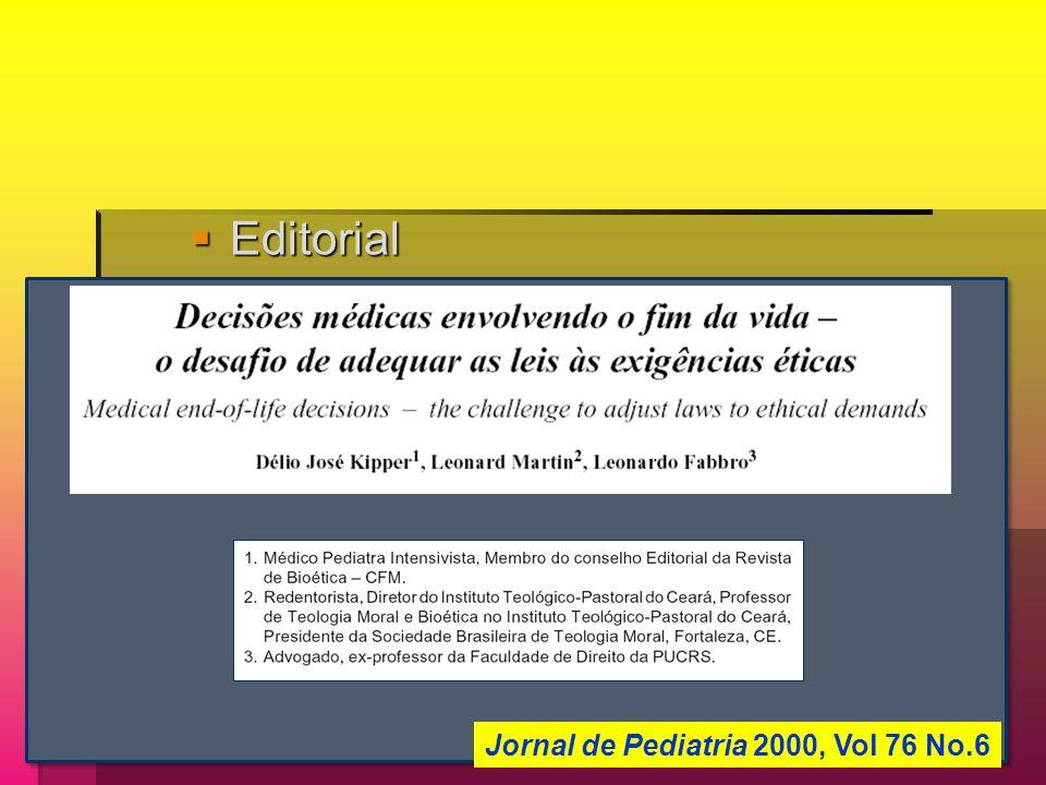 Editorial Editorial Jornal de Pediatria 2000, Vol 76 No.6