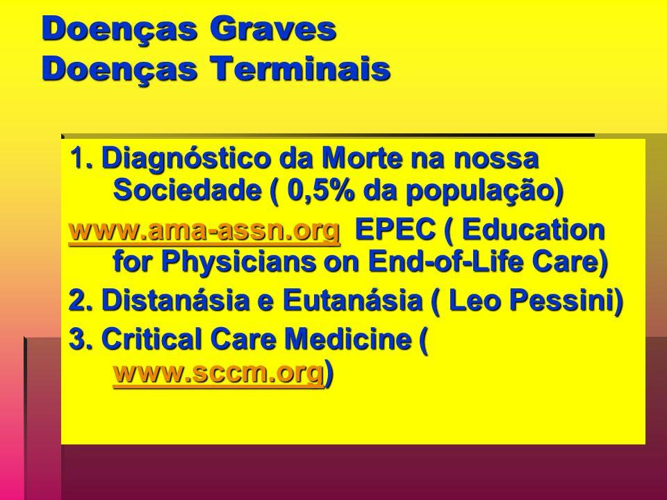 Doenças Graves Doenças Terminais 1. Diagnóstico da Morte na nossa Sociedade ( 0,5% da população) www.ama-assn.orgwww.ama-assn.org EPEC ( Education for