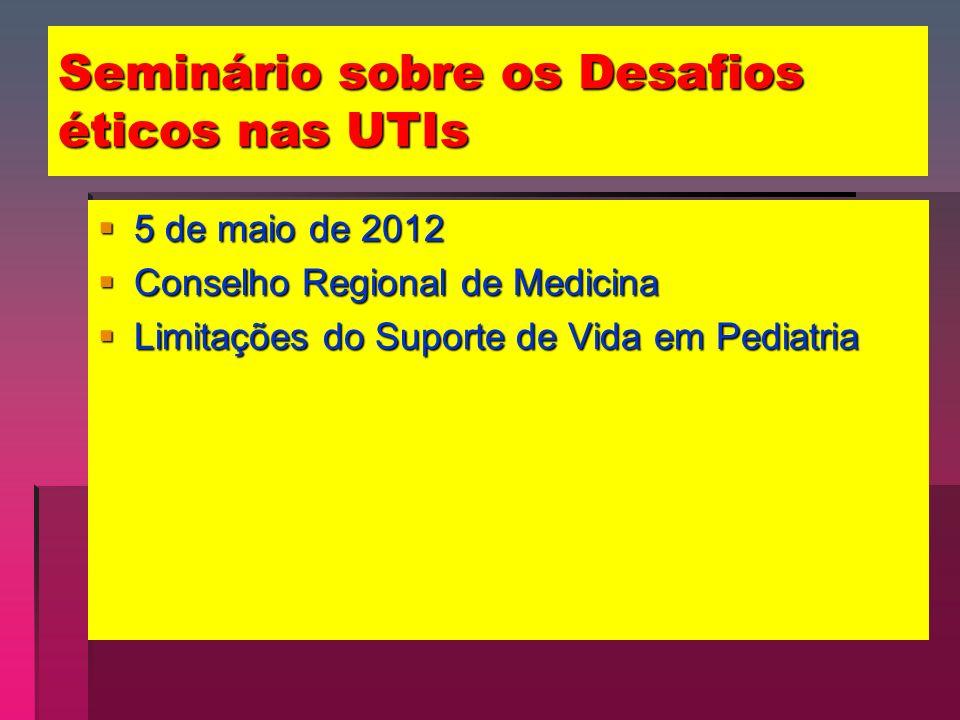 Seminário sobre os Desafios éticos nas UTIs 5 de maio de 2012 5 de maio de 2012 Conselho Regional de Medicina Conselho Regional de Medicina Limitações do Suporte de Vida em Pediatria Limitações do Suporte de Vida em Pediatria