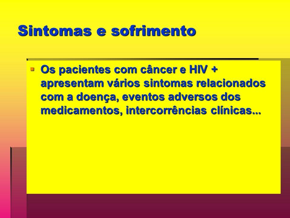 Sintomas e sofrimento Os pacientes com câncer e HIV + apresentam vários sintomas relacionados com a doença, eventos adversos dos medicamentos, intercorrências clínicas...