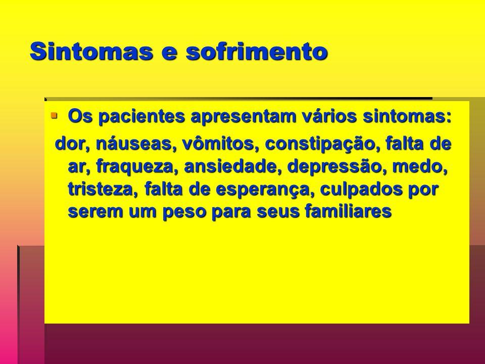 Sintomas e sofrimento Os pacientes apresentam vários sintomas: Os pacientes apresentam vários sintomas: dor, náuseas, vômitos, constipação, falta de ar, fraqueza, ansiedade, depressão, medo, tristeza, falta de esperança, culpados por serem um peso para seus familiares dor, náuseas, vômitos, constipação, falta de ar, fraqueza, ansiedade, depressão, medo, tristeza, falta de esperança, culpados por serem um peso para seus familiares