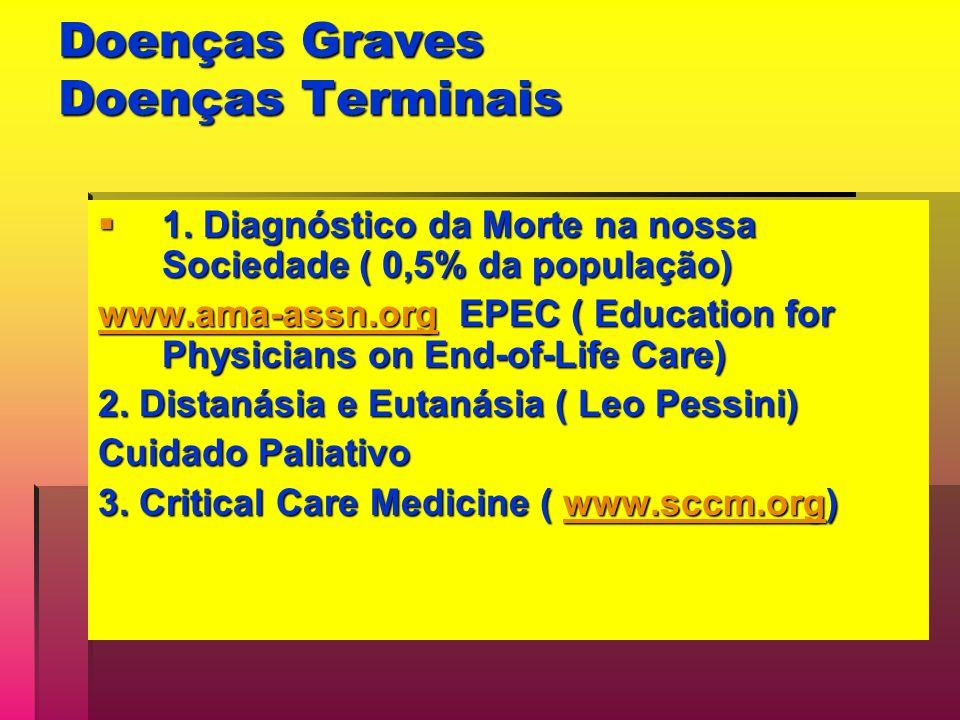 Doenças Graves Doenças Terminais 1. Diagnóstico da Morte na nossa Sociedade ( 0,5% da população) 1. Diagnóstico da Morte na nossa Sociedade ( 0,5% da