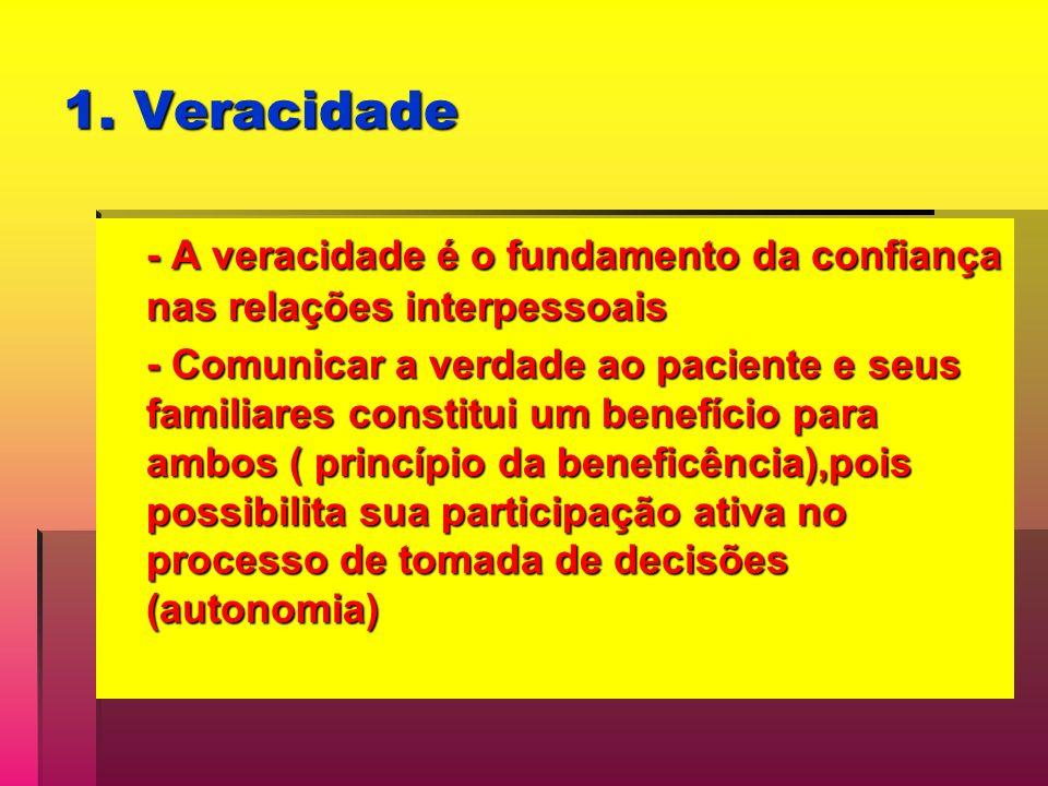 1. Veracidade - A veracidade é o fundamento da confiança nas relações interpessoais - Comunicar a verdade ao paciente e seus familiares constitui um b