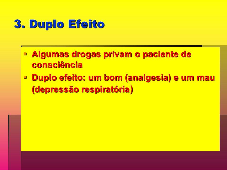 3. Duplo Efeito Algumas drogas privam o paciente de consciência Algumas drogas privam o paciente de consciência Duplo efeito: um bom (analgesia) e um