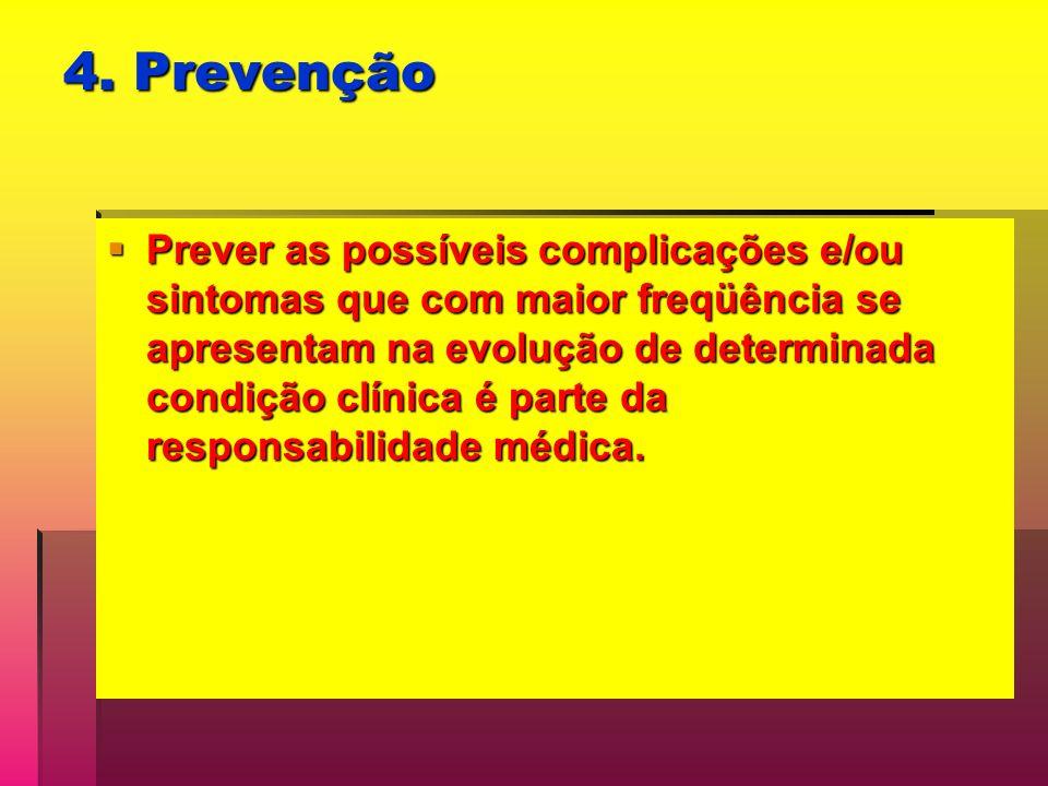 4. Prevenção Prever as possíveis complicações e/ou sintomas que com maior freqüência se apresentam na evolução de determinada condição clínica é parte