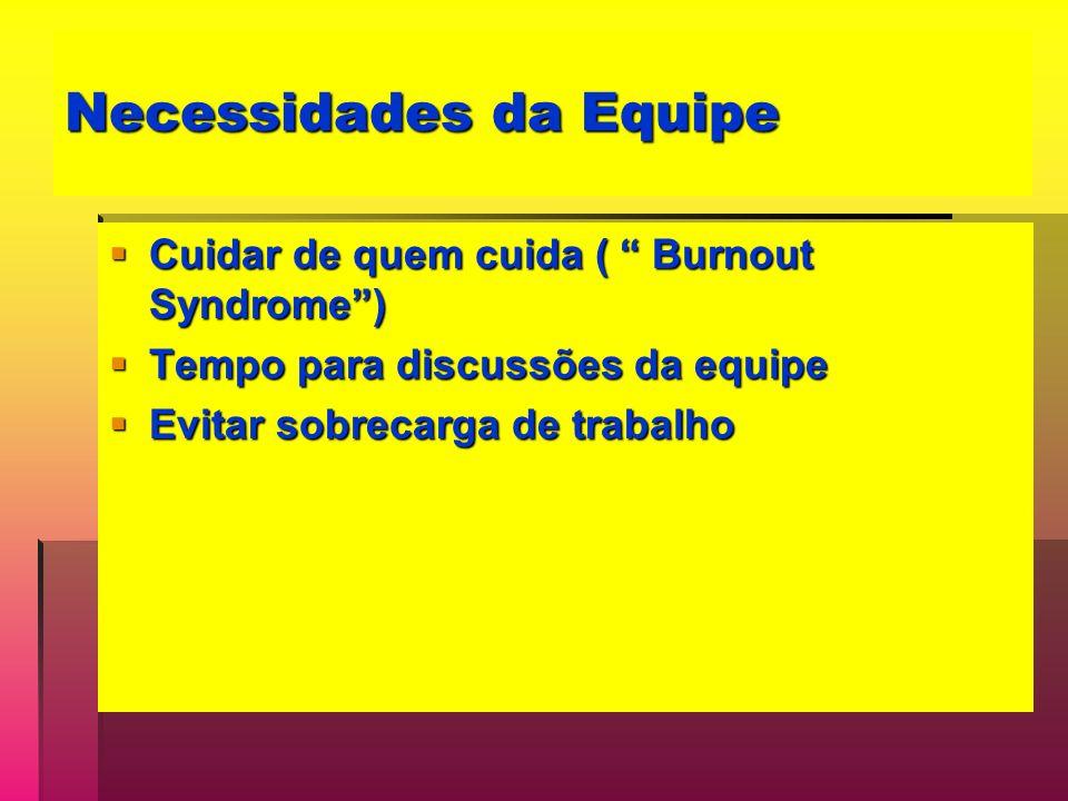Necessidades da Equipe Cuidar de quem cuida ( Burnout Syndrome) Cuidar de quem cuida ( Burnout Syndrome) Tempo para discussões da equipe Tempo para di