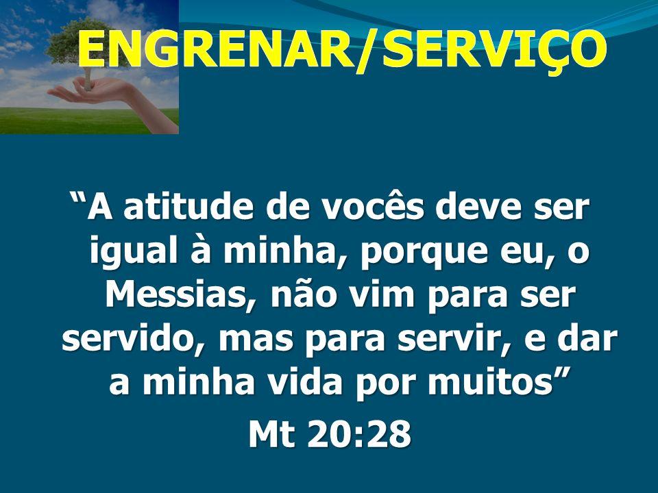 A atitude de vocês deve ser igual à minha, porque eu, o Messias, não vim para ser servido, mas para servir, e dar a minha vida por muitos Mt 20:28