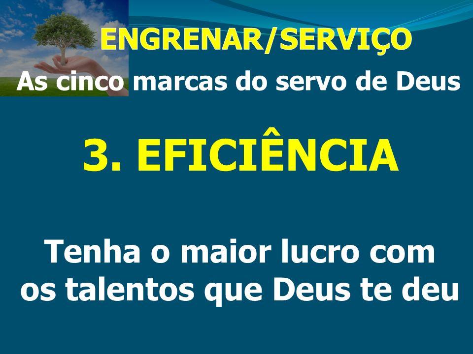 As cinco marcas do servo de Deus 3. EFICIÊNCIA Tenha o maior lucro com os talentos que Deus te deu