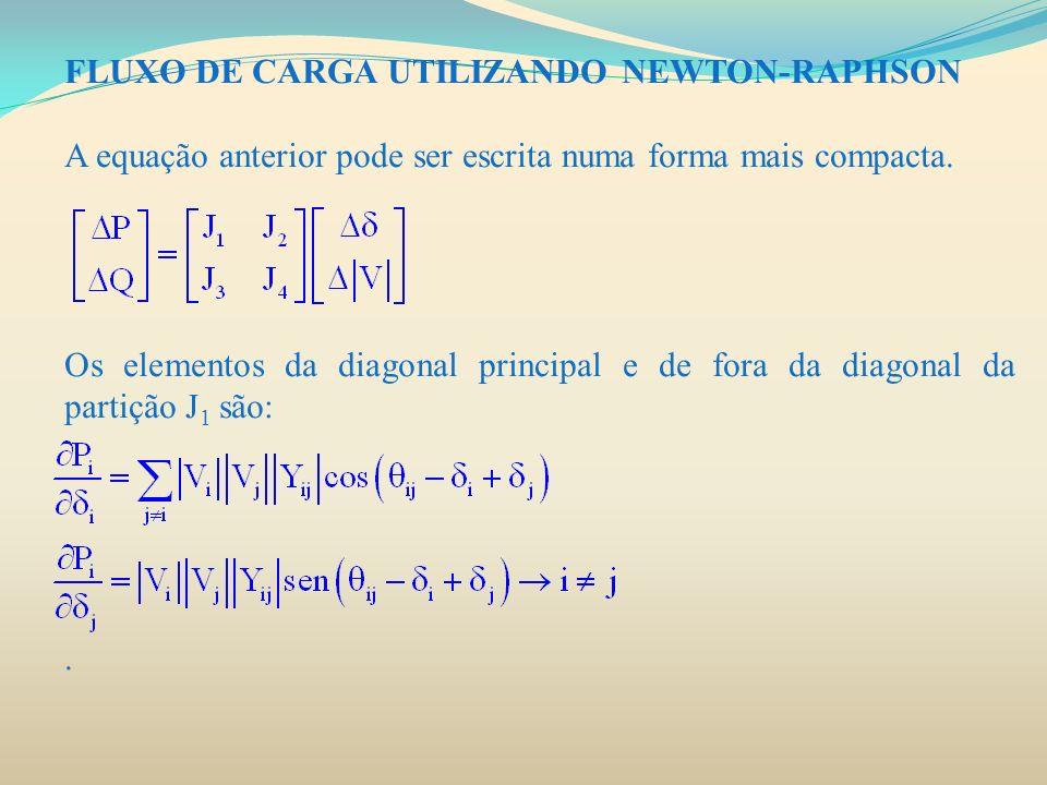 FLUXO DE CARGA UTILIZANDO NEWTON-RAPHSON A equação anterior pode ser escrita numa forma mais compacta. Os elementos da diagonal principal e de fora da