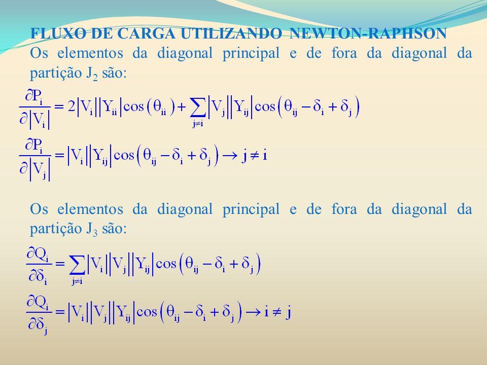 FLUXO DE CARGA UTILIZANDO NEWTON-RAPHSON Os elementos da diagonal principal e de fora da diagonal da partição J 2 são: Os elementos da diagonal princi