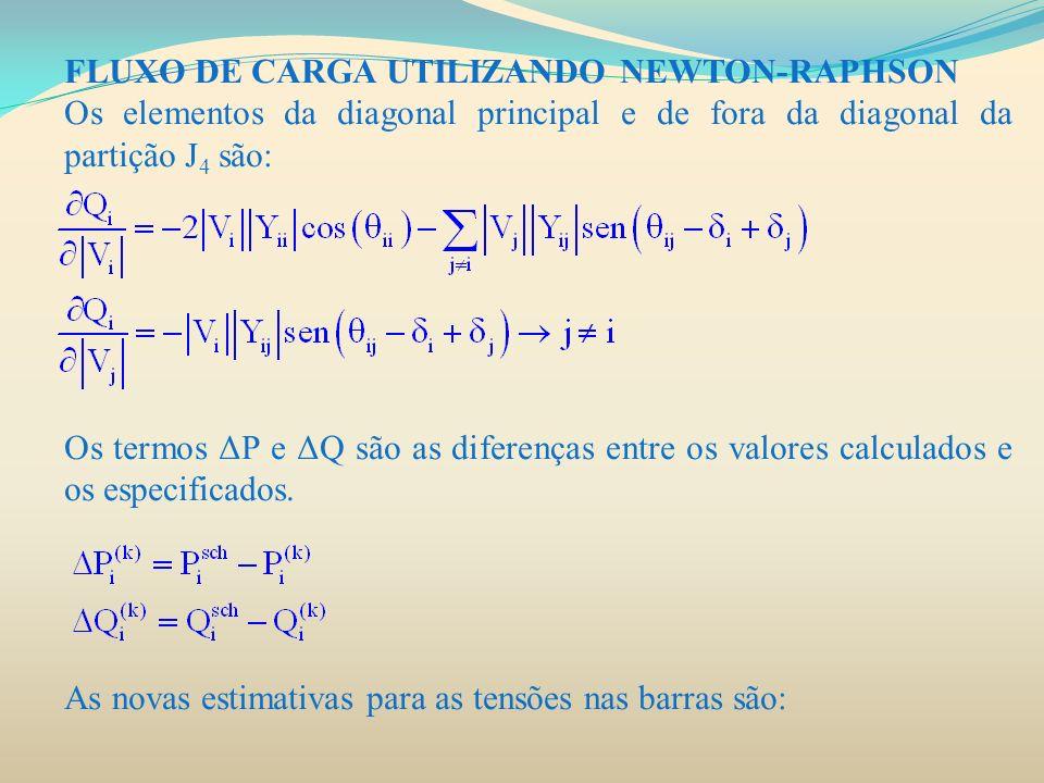 FLUXO DE CARGA UTILIZANDO NEWTON-RAPHSON Os elementos da diagonal principal e de fora da diagonal da partição J 4 são: Os termos ΔP e ΔQ são as difere