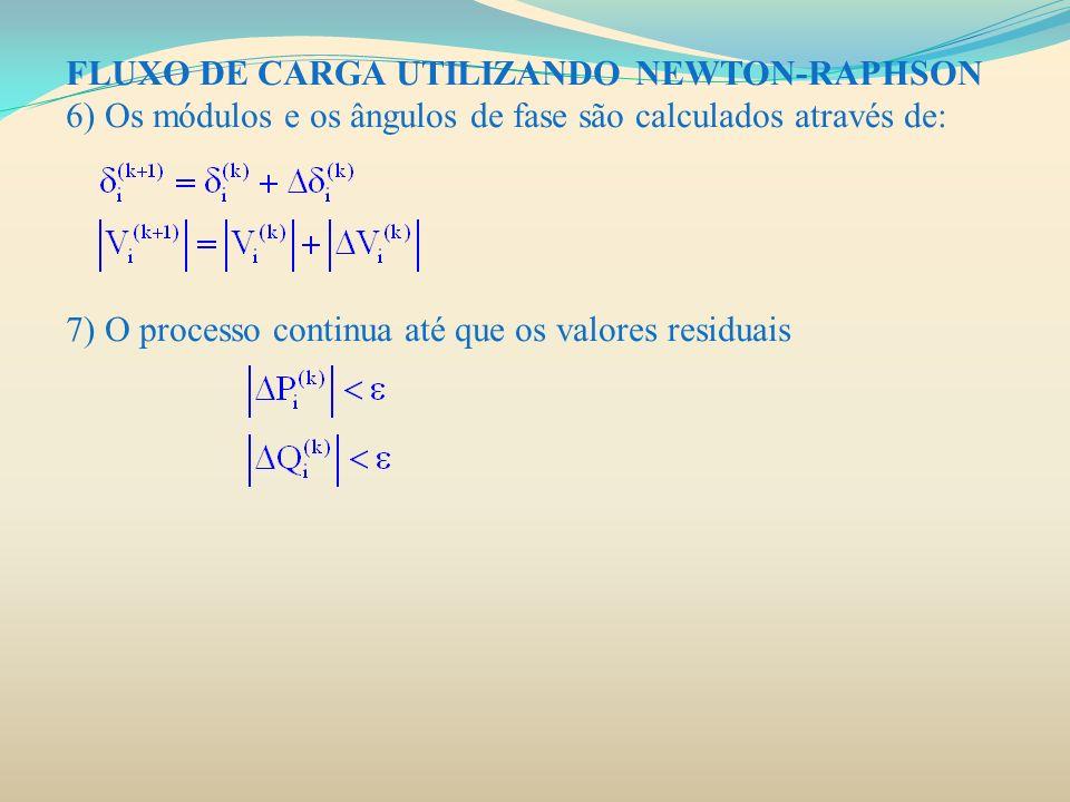 FLUXO DE CARGA UTILIZANDO NEWTON-RAPHSON 6) Os módulos e os ângulos de fase são calculados através de: 7) O processo continua até que os valores resid