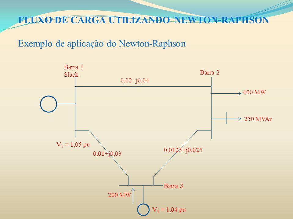 FLUXO DE CARGA UTILIZANDO NEWTON-RAPHSON Exemplo de aplicação do Newton-Raphson. Barra 1 Slack Barra 2 Barra 3 400 MW 250 MVAr V 3 = 1,04 pu 200 MW V