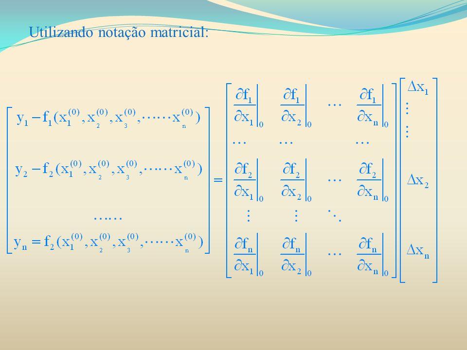 FLUXO DE CARGA UTILIZANDO NEWTON-RAPHSON O procedimento para solução de fluxo de potência pelo método de Newton-Raphson: 1) Para as barras de carga em que a potência ativa e a potência reativa são especificadas, o módulo e o ângulo inicial é de 1 pu e 0 rad.