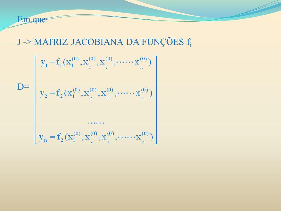 Em que: J -> MATRIZ JACOBIANA DA FUNÇÕES f i D=