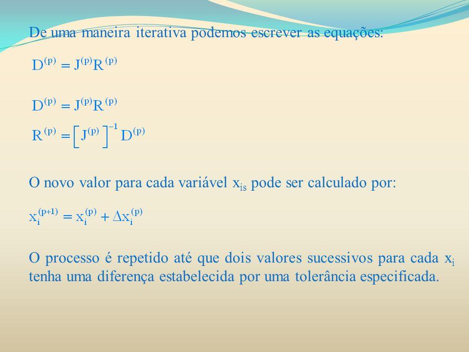 De uma maneira iterativa podemos escrever as equações: O novo valor para cada variável x is pode ser calculado por: O processo é repetido até que dois