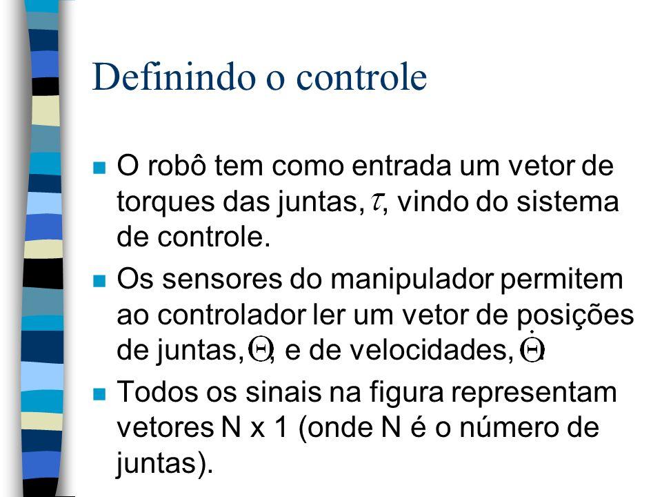 Definindo o controle n O robô tem como entrada um vetor de torques das juntas,, vindo do sistema de controle.
