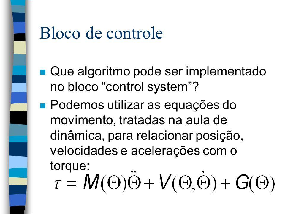 Bloco de controle n Que algoritmo pode ser implementado no bloco control system.