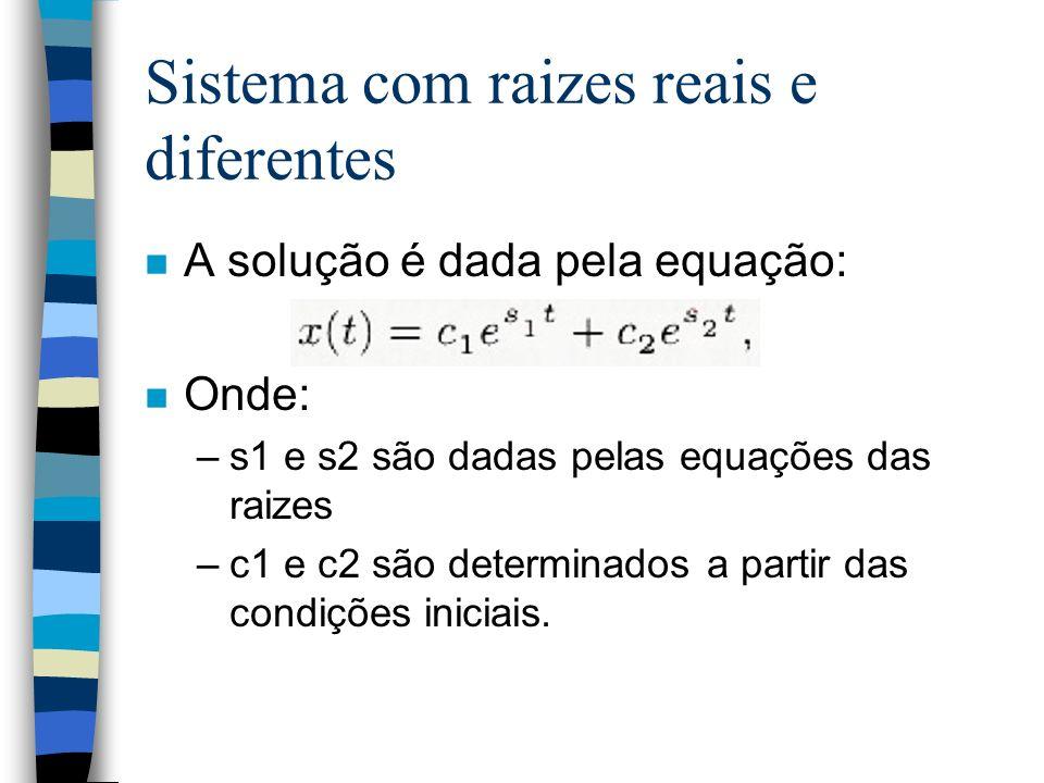 Sistema com raizes reais e diferentes n A solução é dada pela equação: n Onde: –s1 e s2 são dadas pelas equações das raizes –c1 e c2 são determinados a partir das condições iniciais.