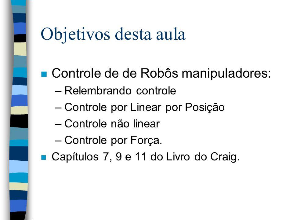 Objetivos desta aula n Controle de de Robôs manipuladores: –Relembrando controle –Controle por Linear por Posição –Controle não linear –Controle por Força.