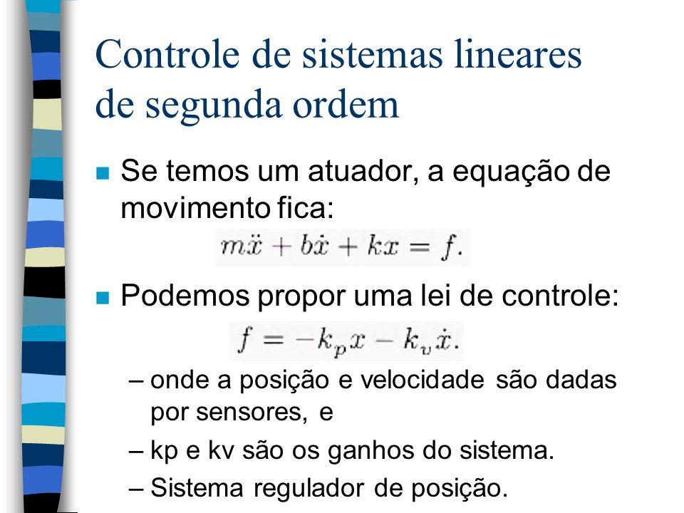 Controle de sistemas lineares de segunda ordem n Se temos um atuador, a equação de movimento fica: n Podemos propor uma lei de controle: –onde a posição e velocidade são dadas por sensores, e –kp e kv são os ganhos do sistema.