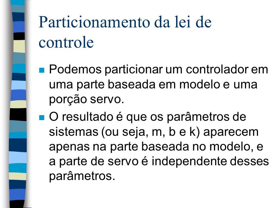 Particionamento da lei de controle n Podemos particionar um controlador em uma parte baseada em modelo e uma porção servo.