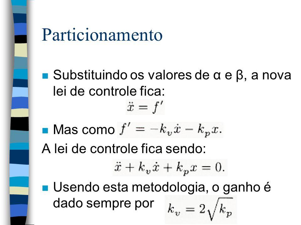 Particionamento n Substituindo os valores de α e β, a nova lei de controle fica: n Mas como A lei de controle fica sendo: n Usendo esta metodologia, o ganho é dado sempre por