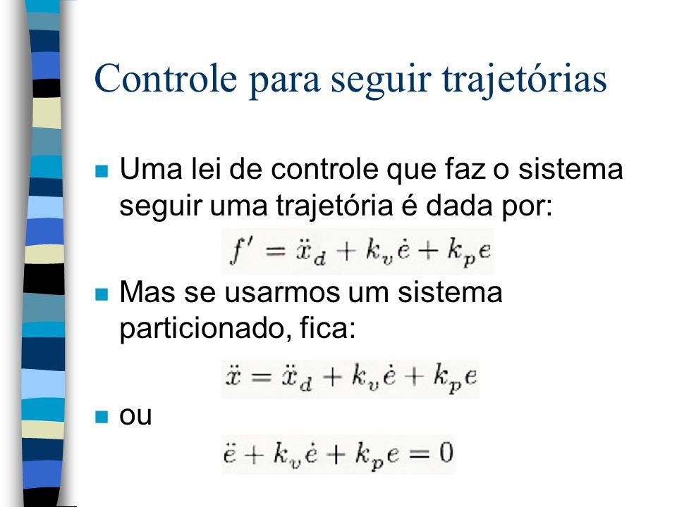 Controle para seguir trajetórias n Uma lei de controle que faz o sistema seguir uma trajetória é dada por: n Mas se usarmos um sistema particionado, fica: n ou