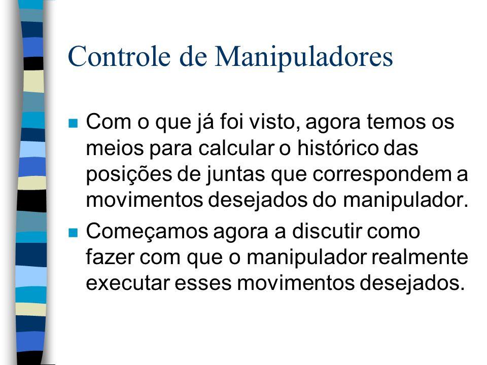 Controle de Manipuladores n Com o que já foi visto, agora temos os meios para calcular o histórico das posições de juntas que correspondem a movimentos desejados do manipulador.