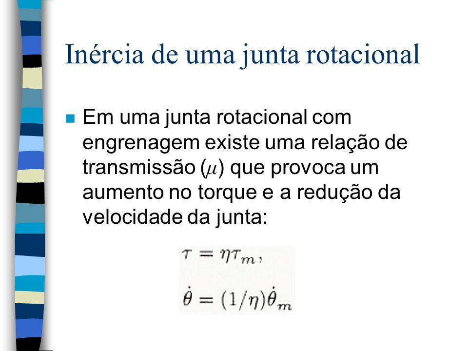 Inércia de uma junta rotacional Em uma junta rotacional com engrenagem existe uma relação de transmissão ( μ ) que provoca um aumento no torque e a redução da velocidade da junta: