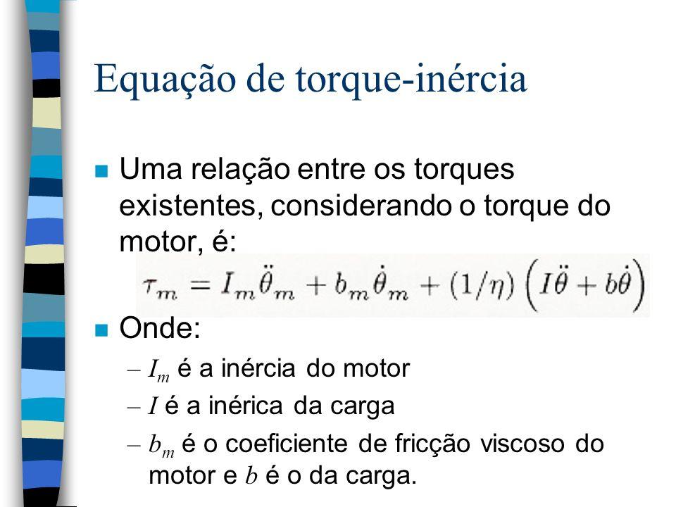 Equação de torque-inércia n Uma relação entre os torques existentes, considerando o torque do motor, é: n Onde: –I m é a inércia do motor –I é a inérica da carga –b m é o coeficiente de fricção viscoso do motor e b é o da carga.