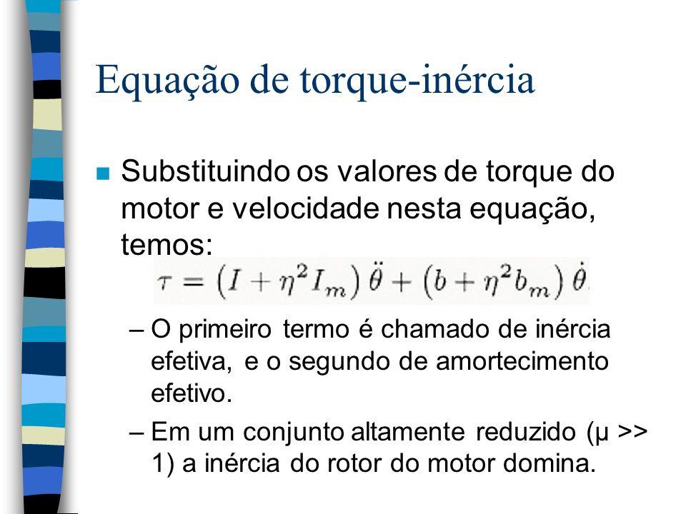 Equação de torque-inércia n Substituindo os valores de torque do motor e velocidade nesta equação, temos: –O primeiro termo é chamado de inércia efetiva, e o segundo de amortecimento efetivo.