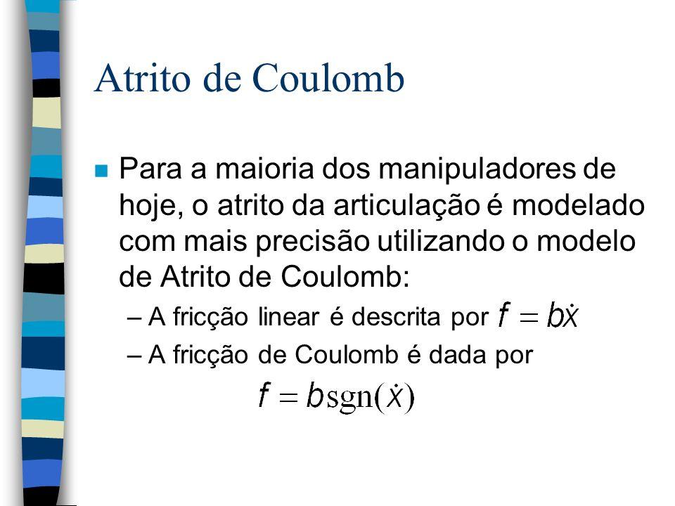 Atrito de Coulomb n Para a maioria dos manipuladores de hoje, o atrito da articulação é modelado com mais precisão utilizando o modelo de Atrito de Coulomb: –A fricção linear é descrita por –A fricção de Coulomb é dada por