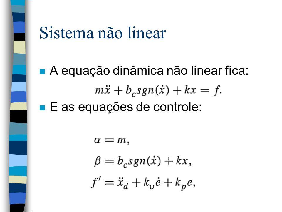 Sistema não linear n A equação dinâmica não linear fica: n E as equações de controle: