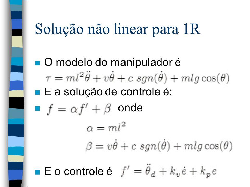 Solução não linear para 1R n O modelo do manipulador é n E a solução de controle é: n onde n E o controle é