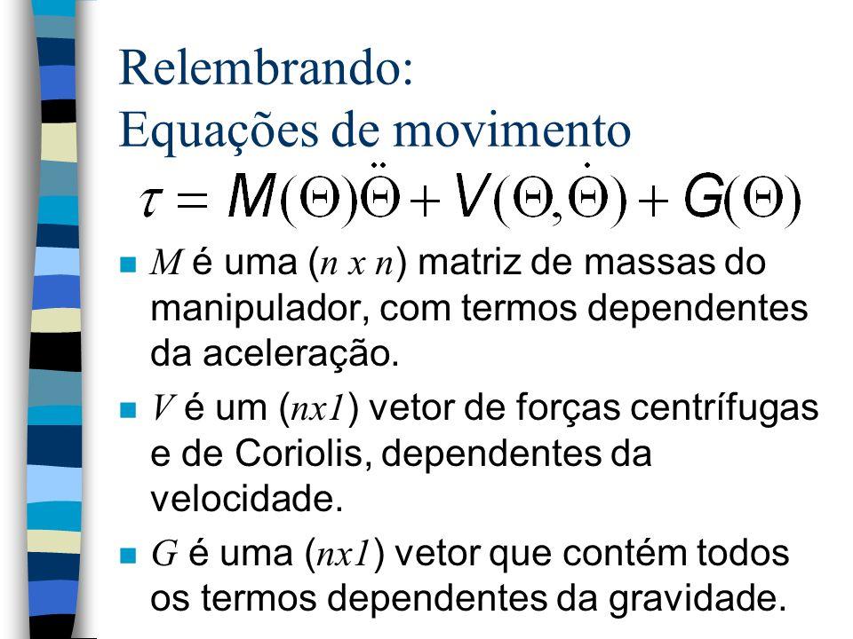 Relembrando: Equações de movimento M é uma ( n x n ) matriz de massas do manipulador, com termos dependentes da aceleração.